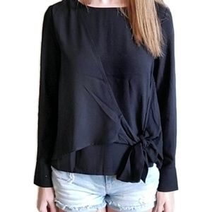 Forever 21 Black Layered Front Knot Blouse S